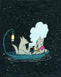 Cat and Wolf in Boat