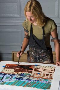 Hilary working in her studio