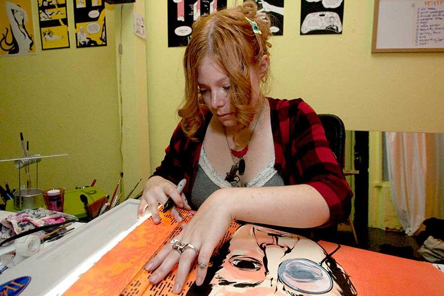 Eliza Frye in her studio