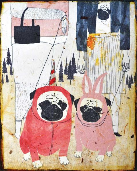 Pug Love, acrylic and India Ink on paper mounted on wood panel