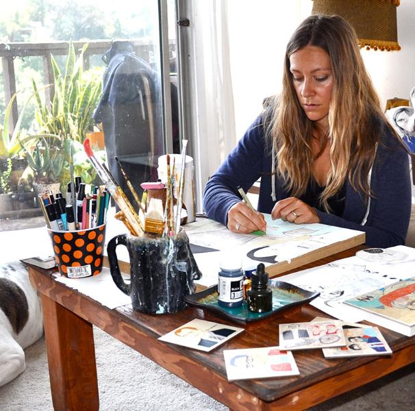Kelly working in her studio