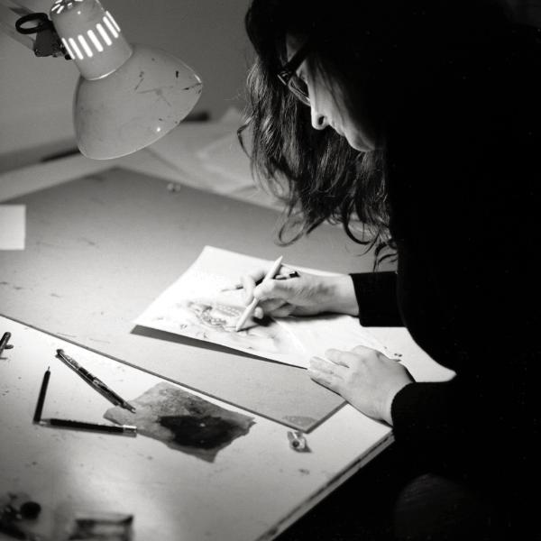Patricia working in her studio
